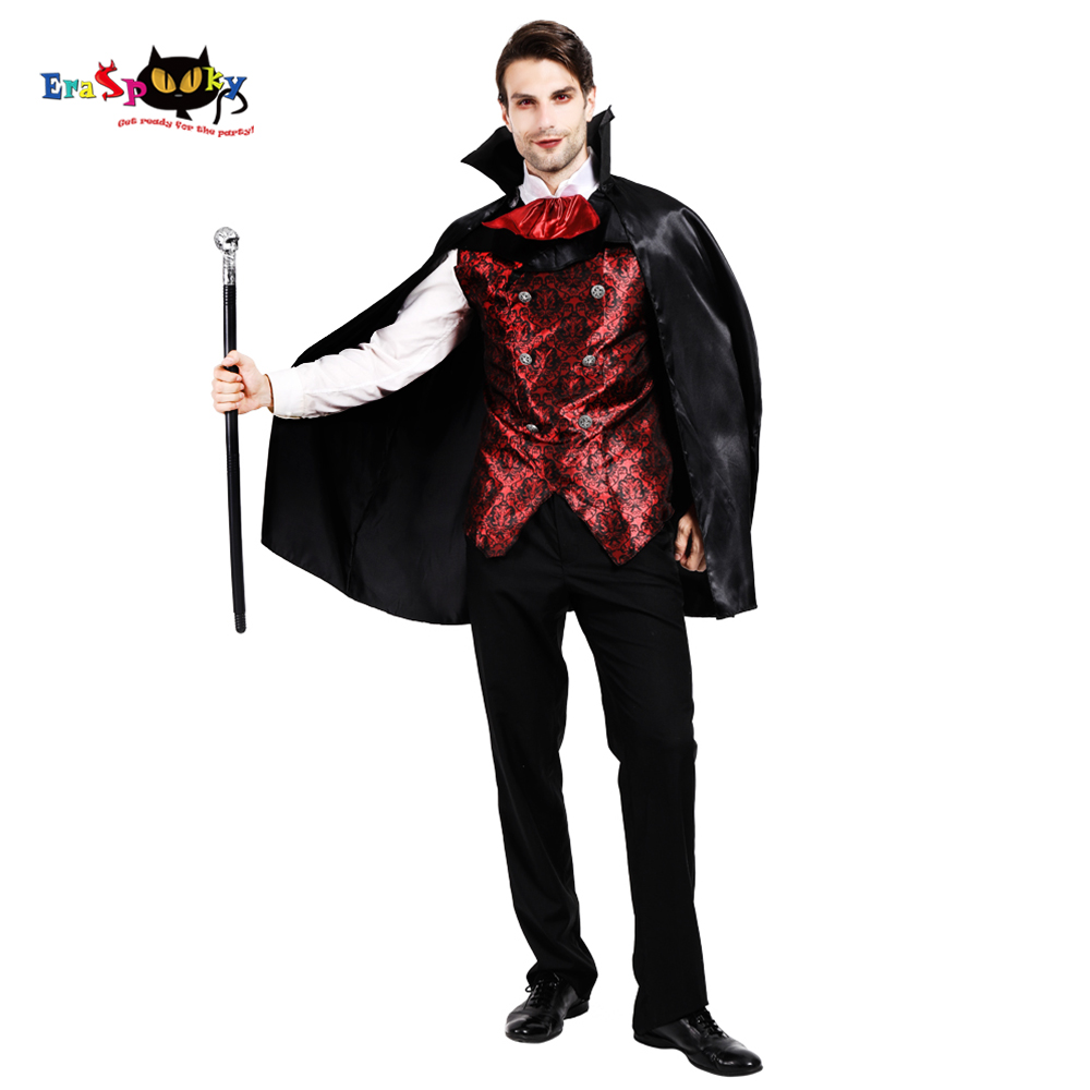 Eraspooky 2019 Men's Scary Dracula Cosplay Cape Halloween Costume For Adult Vampire Cloak Shirts Carnival Party Outfit
