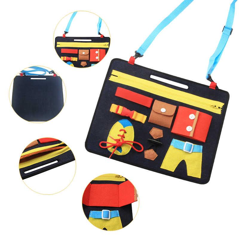 เด็ก Montessori Busy BOARD ของเล่นเด็ก Early การศึกษาการฝึกอบรมทักษะผ้ากระดานปริศนาสวมใส่เสื้อผ้าเกมสอน AIDS สำหรับทารก