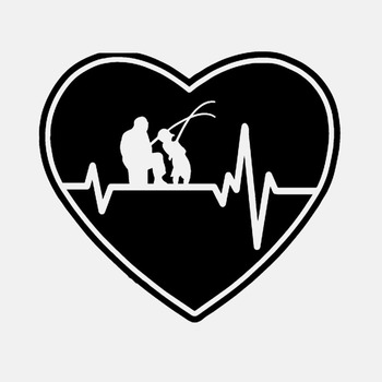 Car Sticker Personality Heartbeat Heart Fishing Father Father Son Fishing Rod Reel Bait PVC Sticker Black/White, 15cm*14cm image