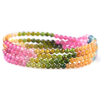 Natural Tourmaline Round Stone Beads Fashion Jewelry Bracelet Minimalist 4mm Beads Strand Gift Women Present Yoga Healing