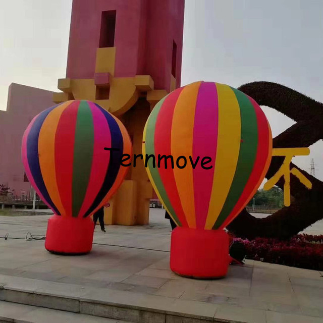 Rainbow air balloon replica advertising rooftop standing hot air balloon model giant inflatable hot air roof balloon