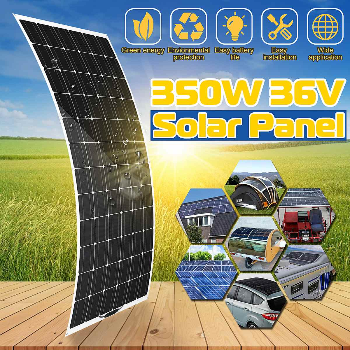Semi flexible Solar Panel 350W 36V solar system Photovoltaic 36V Solar Cell Waterproof battery/yacht/RV/car/boat with Connector  - buy with discount