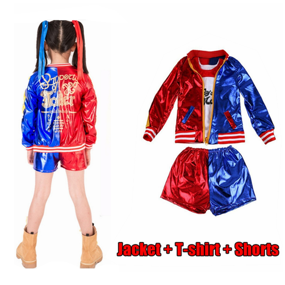 3-12 Yrs Harley Quinn Costume Cosplay Kids Girls Joker Suicide Squad Jacket Purim Carnival Outfit Harley Quinn Coat T Shirt Set