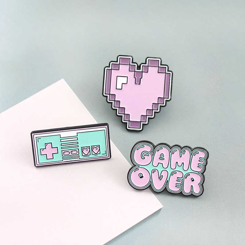 Candy Color Pixel Game Machine Art Enamel Pin Retro Heart Game Control Machine GAME OVER Lapel Shirt Brooch Badge Children Gifts