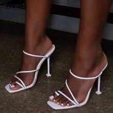 Kcenid สีขาวพิมพ์งูดำ strappy MULE รองเท้าส้นสูงรองเท้าแตะรองเท้าแตะรองเท้าส้นสูงรองเท้าแตะสแควร์ Toe PARTY รองเท้าใหม่
