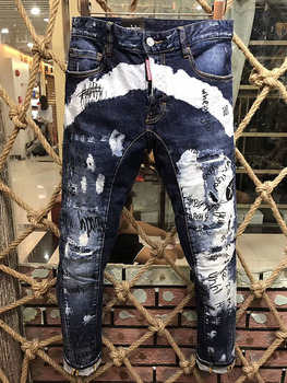 Classic STYLEZ Streetwear  WOMEN/Men's Motorcycle Denim Jeans Straight Pants Ripped White Blue Striped Pants Jeans