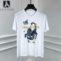 AELESEEN Runway Cotton T Shirt 2020 Fashion New Summer Top Beading Animal Print White/Black Holiday Casual Loose T Shirt