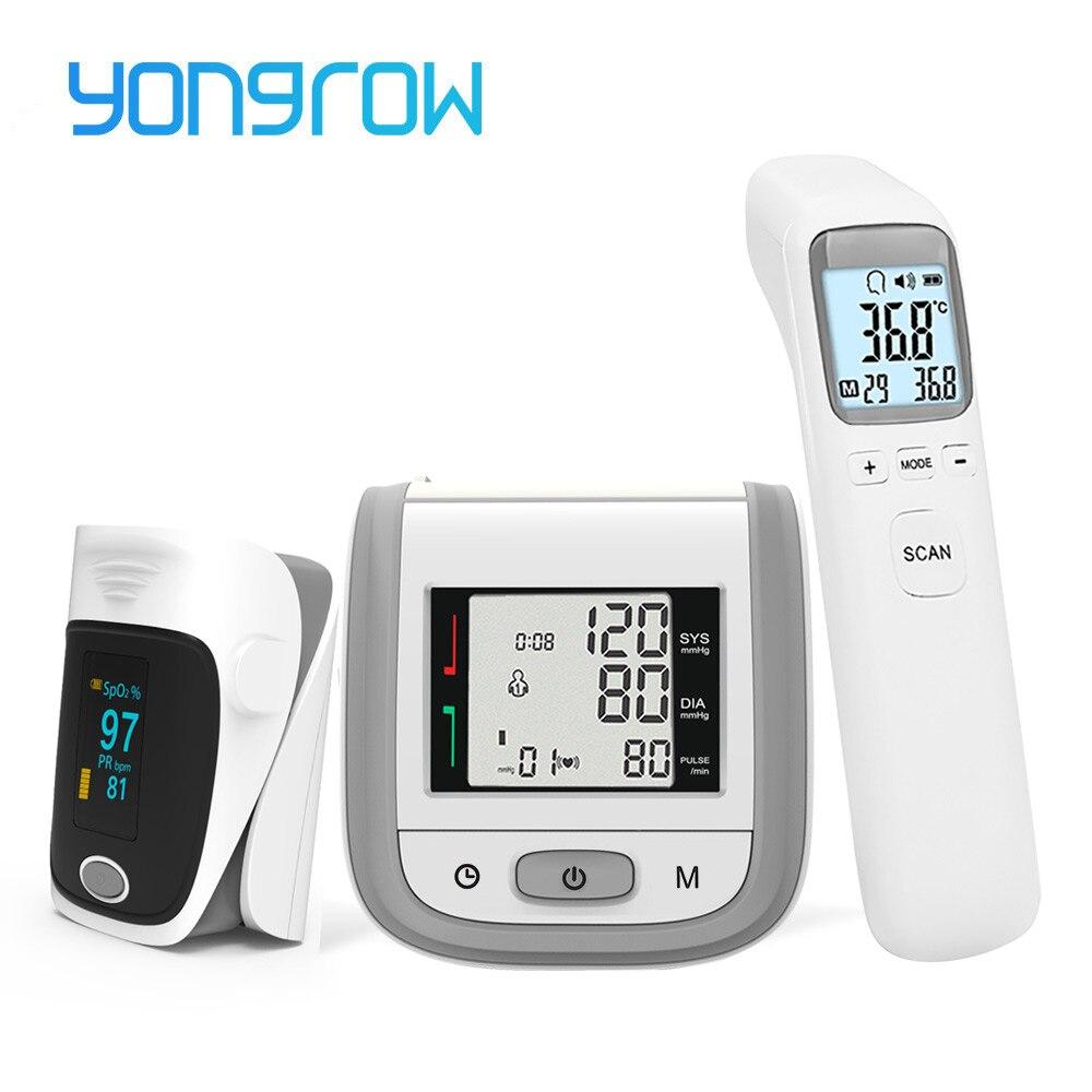 Yongrow oled fingertip oxímetro de pulso & lcd pulso monitor de pressão arterial & bebê termômetro infravermelho presente cuidados de saúde da família