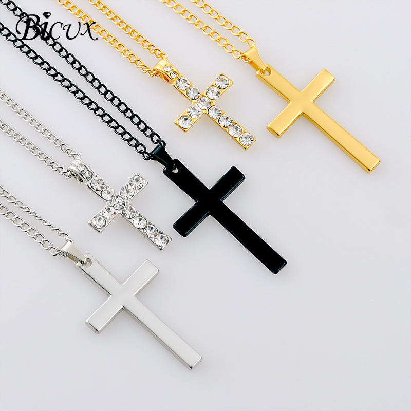 BICUX Fashion Christian Cross Men's Women's Pendant Necklaces Stainless Steel Gold Silver Color Long Chain Necklace Jewelry