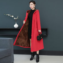 CheckOut Photo Shoot 2019 Winter New Style Ethnic-Style Cotton Linen Brushed And Thick Frog Trench Coat Long Hooded Cloak Women's offer