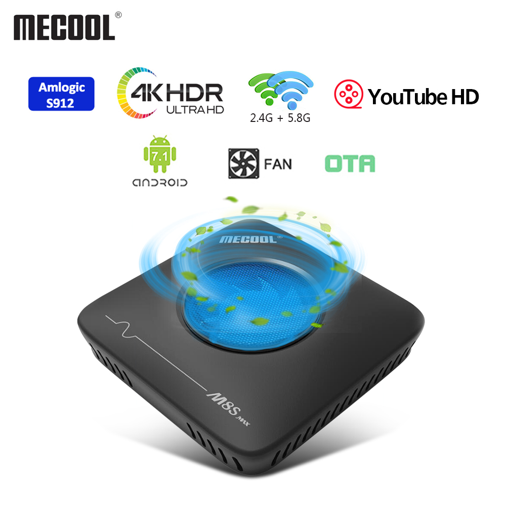 MECOOL M8S Max Amlogic S912 Smart TV Box Android7.1 3GB + 32GB 2.4G 5.8G double WiFi BT4.0 décodeur 4K ultra HD VP9 H.265 TV Box