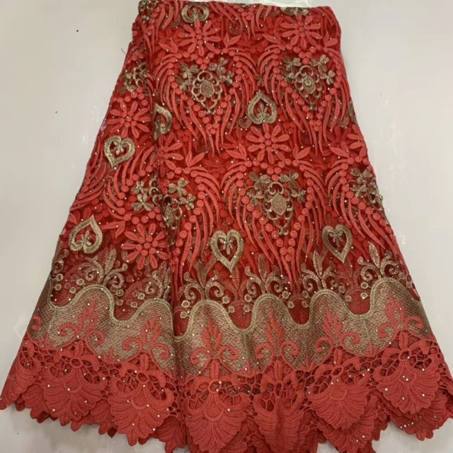 Red French Tulle Lace Fabric Embroidery Cord Guipure Lace African Nigerian Fabric For Dress Party 2019 Latest Design