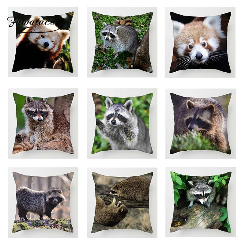Fuwatacchi Cute Animals Cushion Cover Raccoon Wildlife Printed Pillowcase For Home Sofa Bed Chair Decorative Pillows Covers 2019