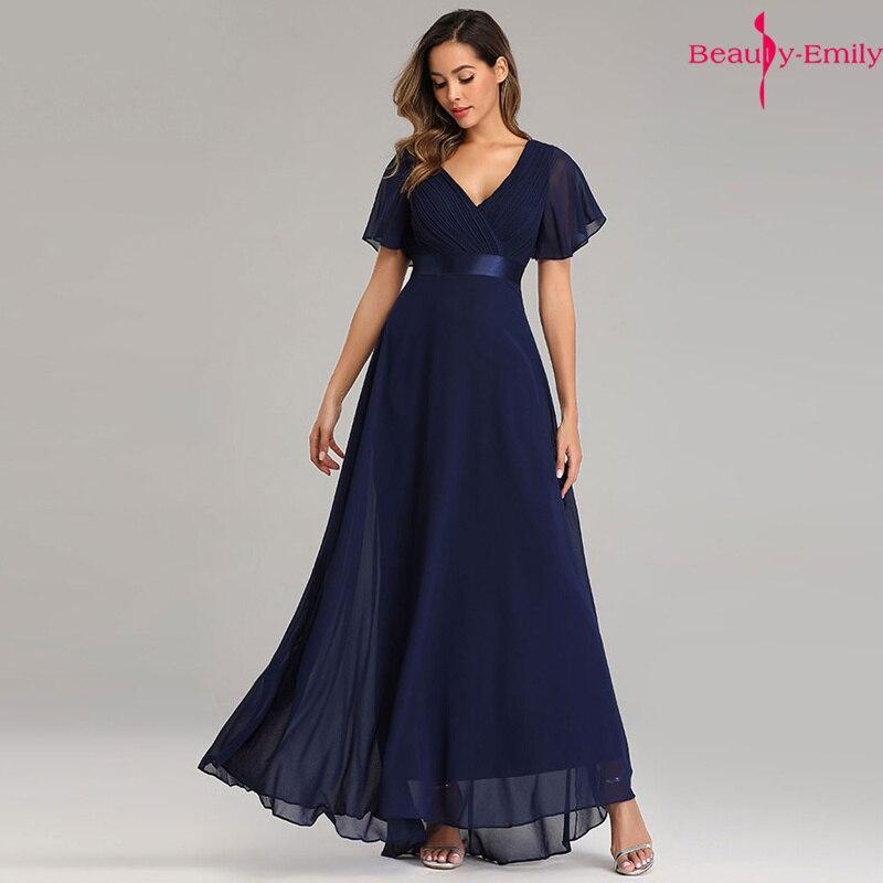 Beauty-Emily Short Sleeve   Evening     Dresses   Elegant V-Neck Ruffles Chiffon Formal   Evening   Gown Party   Dress   Robe De Soiree 2019