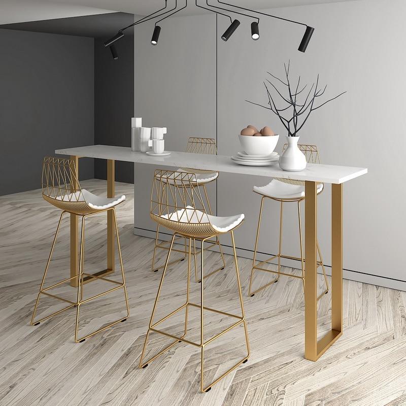Nordic Minimalist Home Against The Wall High Table Bar Chair Coffee Net Red Tea Shop Bar Chair Fauteuil Long De Bars
