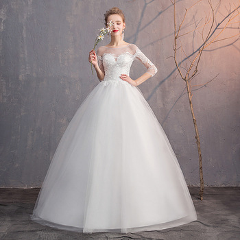 Simple Wedding Dresses Ball Gown O-Neck Lace Up 3/4 Sleeve Elegant Cheap Wedding Gowns For Bride Vestido Noiva Barato 2020