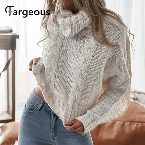 Image 3 - Long Sleeve Turtleneck Crop Sweater 2019 Autumn Winter Thick Solid Harajuku Oversized Pullover White Kintted Jumper Tops