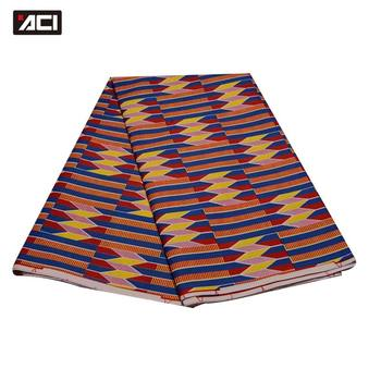 ACI Ghana tejido Kente 6 yardas Ankara africano cera Real imprime tela Tissu africano Batik cera de Ghana tejido Kente para vestido de fiesta