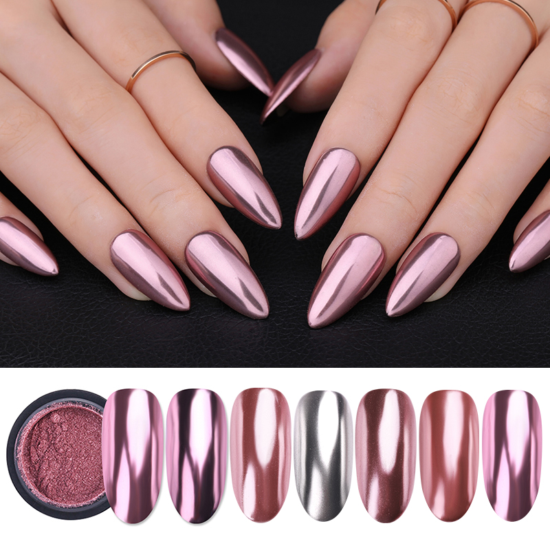 Metallic Mirror Nail Powder Glitter Silver Rose Gold Champagne Nail Art Glitter Chrome Pigment Dust Decoration DIY Nail Designs