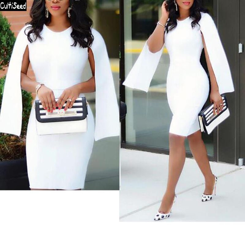 Cultiseed Women Cloak Sleeves Dress Female New Fashion Slim Hip One Step Pencil Dress Ladies Office Work Party Dinner Dresses