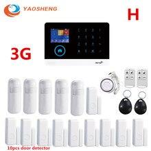 3G IOS אנדרואיד מרחוק APP בקרת אבטחת בית עם GPRS RFID כרטיס אלחוטי WIFI Motion גלאי אזעקה ערכת