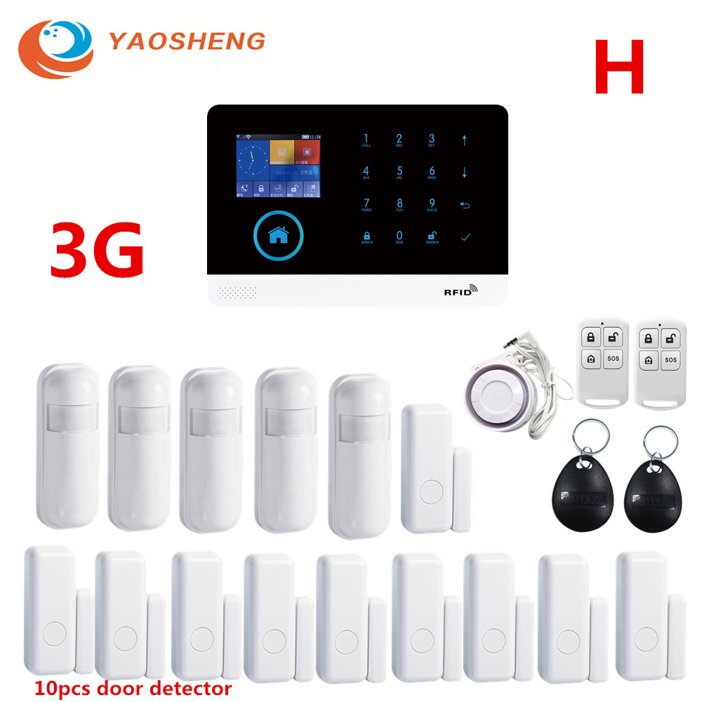 3G IOS/Android APP Remote Control GPRS RFID Card Wireless <font><b>WIFI</b></font> Home /Business <font><b>Burglar</b></font> Security <font><b>Alarm</b></font> System With Detector <font><b>Alarm</b></font> image