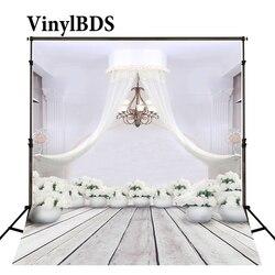 VinylBDS kryty ślub tło białe drewno podłogi tła europejski żyrandol tła zielone tło z kwiatami dla Photocall