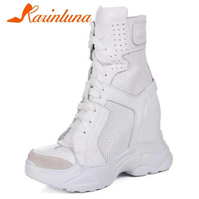 KARINLUNA 32-40 สุภาพสตรีสุภาพสตรีสูงความสูงเพิ่มรองเท้าหนังข้อเท้ารองเท้าผู้หญิง 2019 รองเท้าส้นสูงรองเท้าผู้หญิง