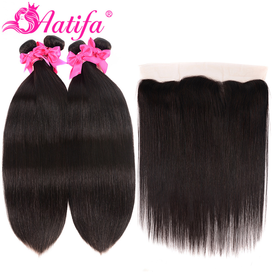 Brazilian Straight Hair Bundles With Frontal 100 Human Hair Frontal With Bundles Aatifa Remy Hair Bundles