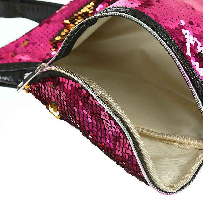 新しい女性可逆マーメイドスパンコール旅行ウエストファニーパック休日マネーベルト財布グリッター火傷バッグポーチ赤、緑、紫
