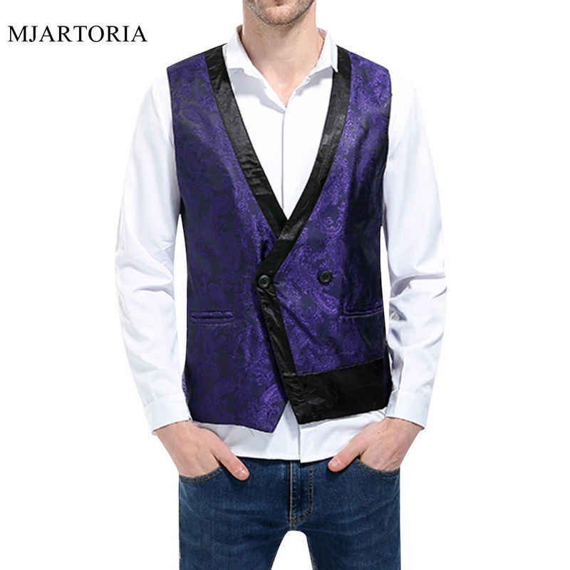 MJARTORIA 2019 Men's Cotton Solid Color Business Vest Business Casual Shirt Men's  Button New  Style Slim Vest