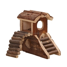 Pets Wooden House 2 Storey Small Villa Waterproof 2 Stairs Play Cage for Hamster