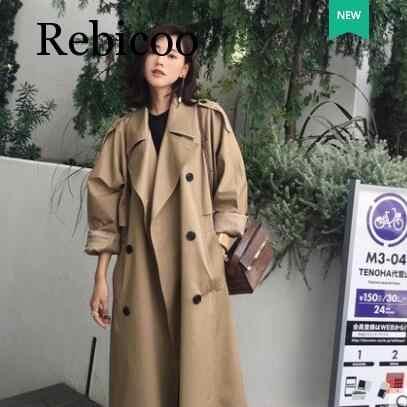 Осенняя мода уличная Роскошная Дамская двубортная длинная Тренч пальто классического свободного размера плюс женский плащ верхняя одежда