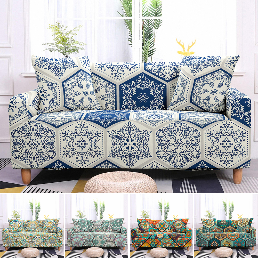 Sofa Slipcovers Stretch Sofa Cover Elastic Couch Cover Sectional Sofa Cover Bohemian Styles Mandala Pattern Sofa Cover 1-4 Seat 2