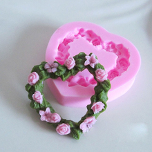 1PC Heart-shaped Rose Leaf silicone mold Moulds  fondant Sugar Cake Decoration Jelly pudding soil liquid silica Gel Mould