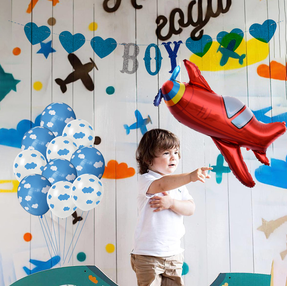 12 Inch Hawaii Sky Theme Kids Birthday Party Blue White Cloud Balloon And Boy Airplane Toy Banner Birthday Wedding Decoration image