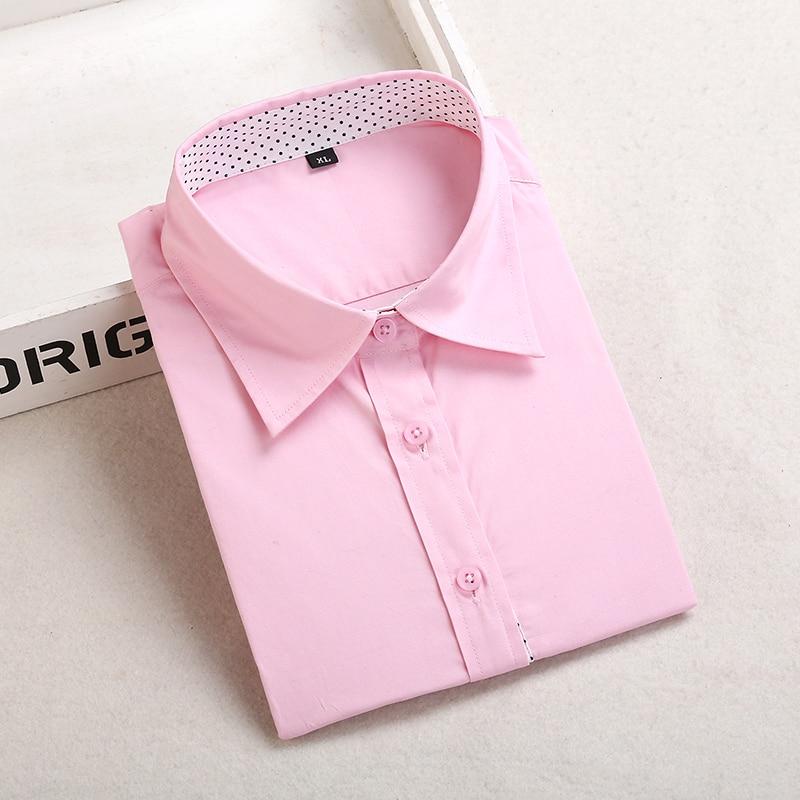 Dioufond, Хлопковая женская рубашка, блуза с длинным рукавом, красный горошек, Blusas Femininas, 5XL размера плюс, отложной воротник, женские модные топы - Цвет: Ppink