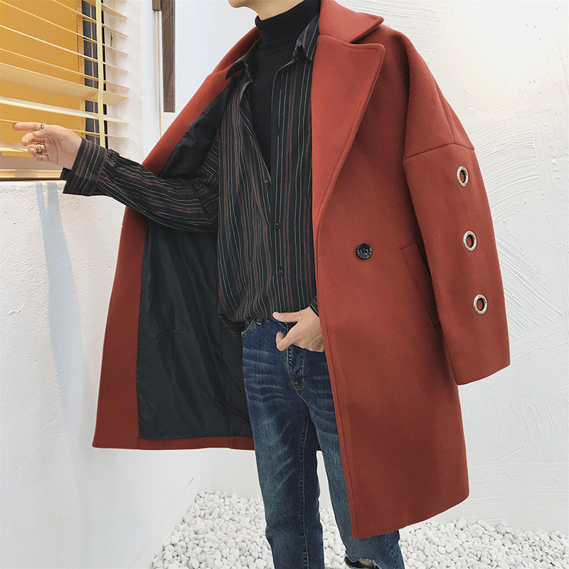 2019 Autumn And Winter New Men's Loose Woolen Coat Fashion Casual Solid Color Mid-length Windbreaker Jacket Red S-2XL