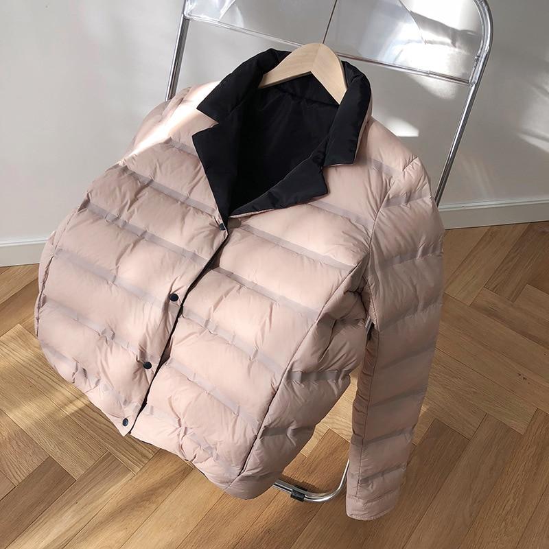 Abrigo de invierno para mujer 2019 abrigo de manga larga con cuello de pato blanco con plumón azul cálido Casaco femenino abrigo de gran tamaño para mujer - 6