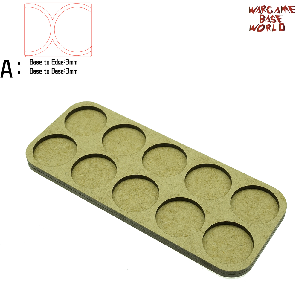 Wargame Base World - Movement Tray - 10 Round 25mm - Double Line Shape MDF