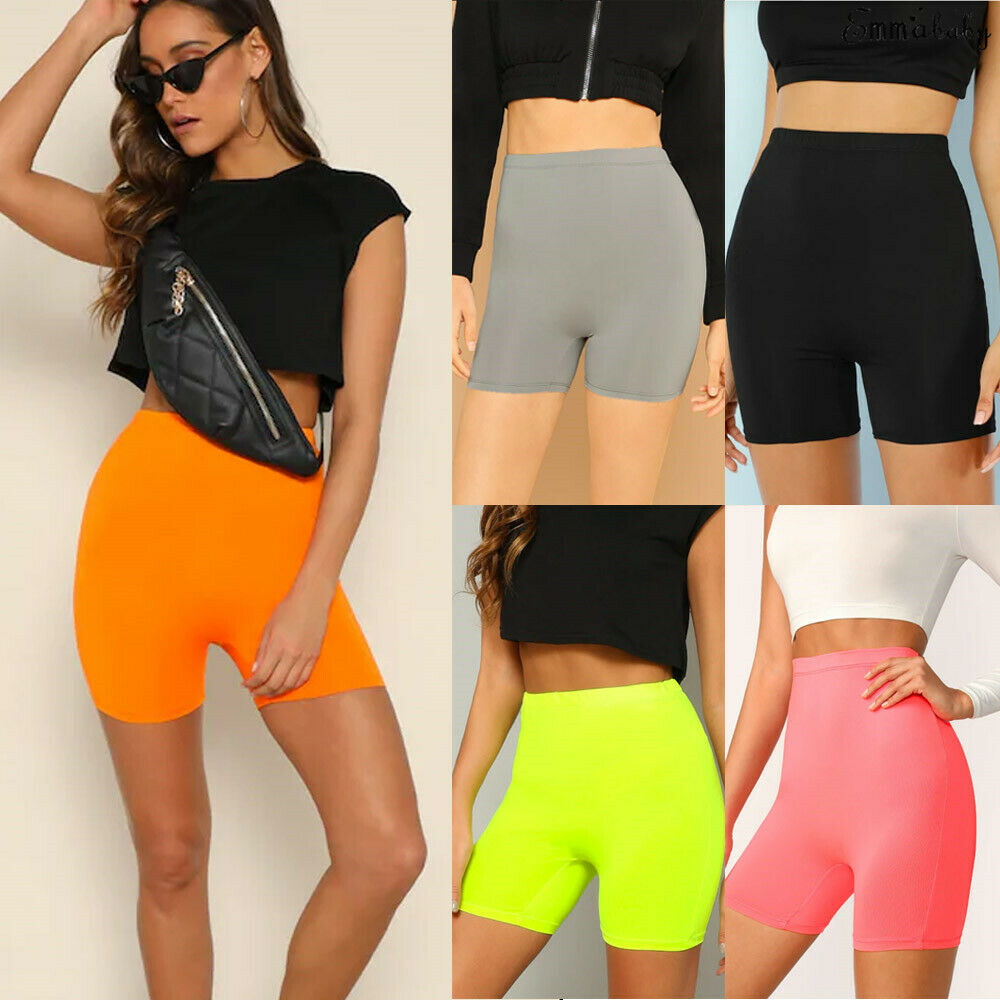 Women Stretchy Compression Yoga Shorts Sports Gym Fitness Running Exercise High Waist Shorts Plain Trousers