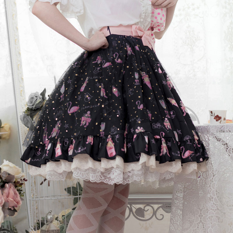 Flamingo Printed Casual Lolita Skirt Elastic Waist Short A Line Skirt By Idream