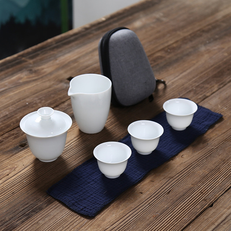 White Ceramic Teapot Gaiwan With 3 Cups 4 Cups Gaiwan Tea Sets Portable Travel Tea Sets Drinkware