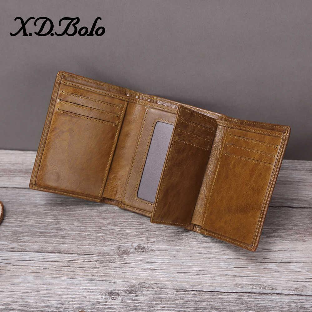 Xdbolo carteira masculina de couro legítimo, carteira de design masculino de luxo feita em couro legítimo com zíper e porta-cartões 2020