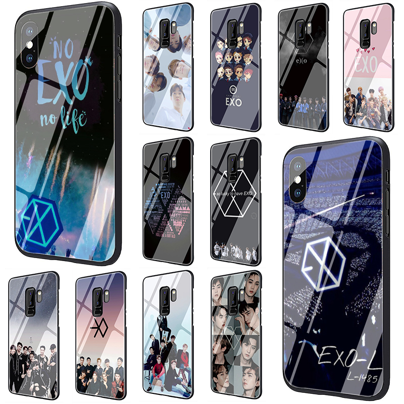 EWAU EXO Tempered Glass phone case for Samsung S7 S8 S9 S10 Note 8 9 10 plus A10 20 30 <font><b>40</b></font> <font><b>50</b></font> <font><b>60</b></font> 70 image