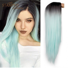Stamped Glorious Straight Ombre Black Green Wig Long Synthetic Wig