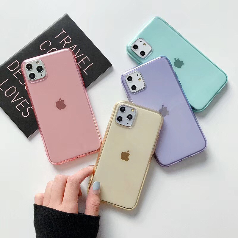 Moskado Clear Solid Candy Color Phone Case For IPhone 11 Pro X XR XS Max 6 6s 7 8 Plus Transparent Soft TPU Silicone Back Cover
