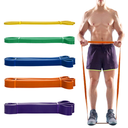 5pcs Resistance Loop Bands Set Latex Yoga Strength Training Pull Up Bands Home Gym Fitness Workout Elastic Band w/ Carry Bag