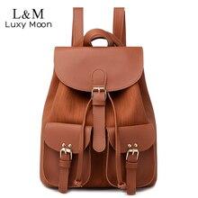 Kobiety sznurkiem skórzany plecak kobiet solidna tornister brązowy plecaki marki torby na ramię plecak dla nastolatki XA28H