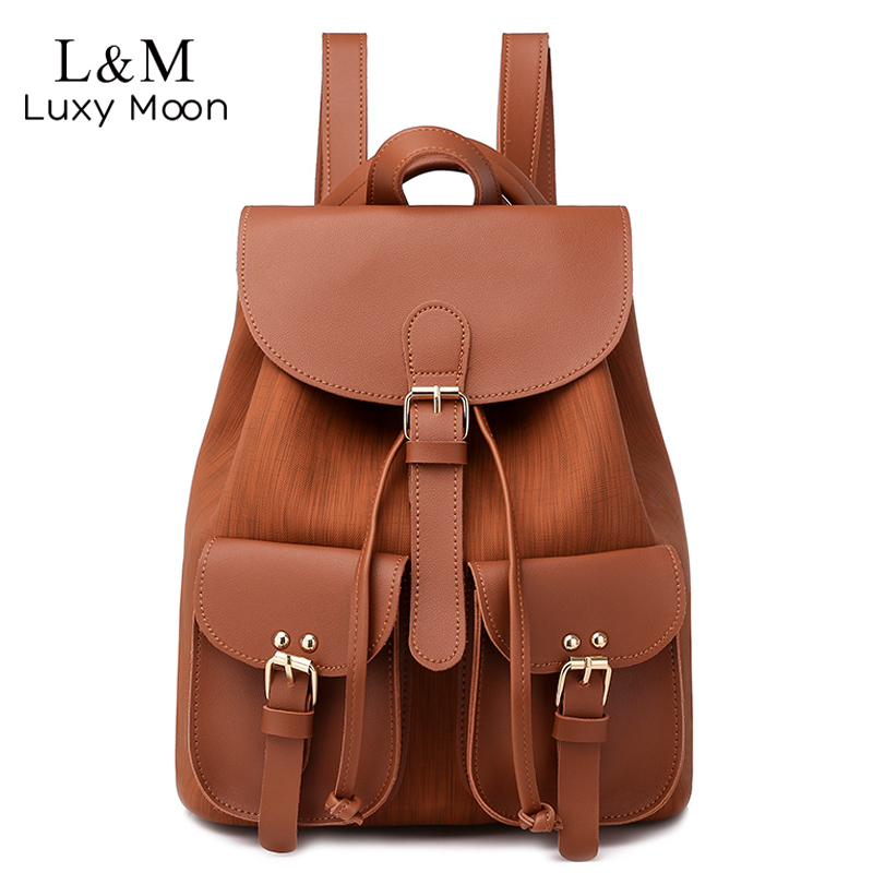 Women Drawstring Leather Backpack Female Solid School Bag Brown Backpacks Brand Shoulder Bags For Teenage Girls Rucksack XA28H